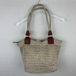 The Sak Cambria Crochet Beige Shoulder Bag
